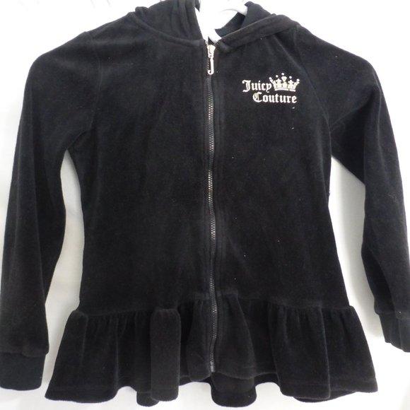 JUICY COUTURE, 6x, black velour zip up hoodie, GUC